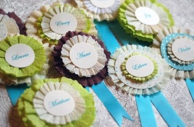 Gina DeDominici Graphic Design: DIY:: Crepe Paper Name Tags. {Courtesy of Once Wed}