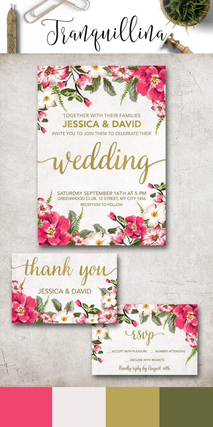 Floral Wedding Invitation Printable, Boho Wedding Invitation Suite, Digital File - Floral Invitation, Spring Summer Wedding Ideas - pinned by pin4etsy.com