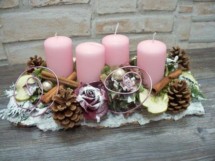 Adventsgesteck,rosa-weiß-Natur,shabby,Landhaus von ...die mit den Blumen tanzt... auf DaWanda.com