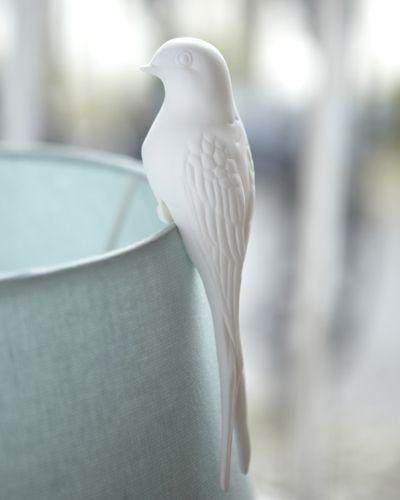Bone China Perching Bird (reflects Light From The Lampshade)