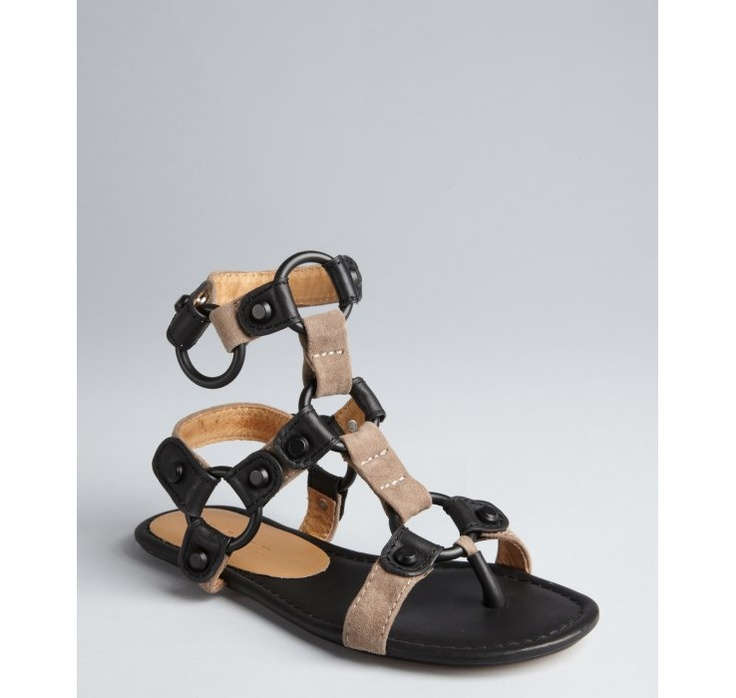 l a m b black and taupe suede 39 indee 39 ring sandals when