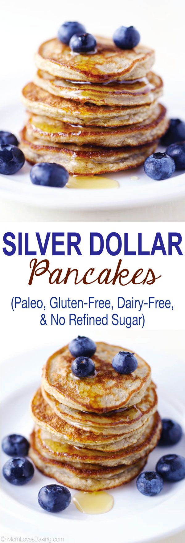 Made with coconut flour, Silver Dollar Pancakes are a delicious Paleo version of the classic breakfast. They're also gluten-free and dairy-free! Recipe on MomLovesBaking.com