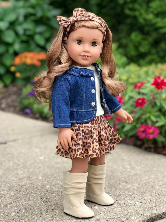 """Fits American Girl Our Generation 18/"""" Doll Clothes Leopard Print Bomber Jacket"""