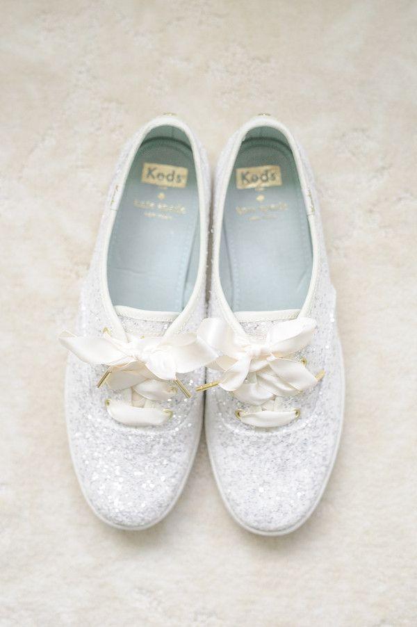 White glitter sneakers for the bride! Fun bridal shoe wedding idea.