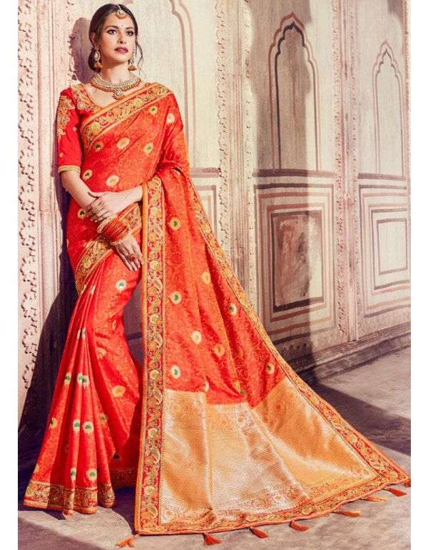 44331230d9 Flame Orange and Golden Banarasi Silk Designer Saree | Bridal ...