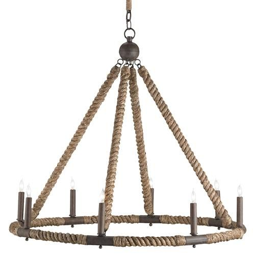 Wrapped in natural, nautical abaca rope, this wrought iron rustic chandelier is a beacon for beachgoers. Finished in natural rust, this stylish circular chandelier holds eight candelabra bulbs and can be adjusted to shed the perfect light on any party.