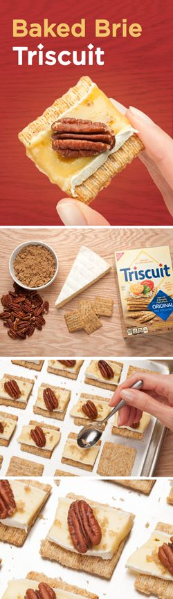 You can't go wrong with this timeless and delicious party treat! Cover a baking tray with TRISCUIT crackers and add a slice of brie to each cracker. Next, add a little brown sugar, top with a pecan on each cracker, and bake for 10 minutes. Voila!