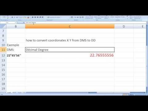 (234) how to convert the X Y coordinates from (degree minute second) DMS to (decimal degrees) in Excel - YouTube