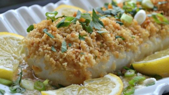 Cod is coated with lemon juice, cracker crumbs, and wine before baking for just 20 minutes for a quick and easy weeknight dinner.