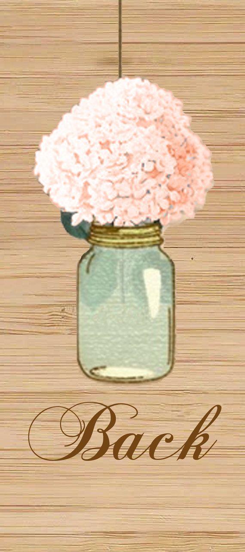 Hortensia de melocotón y menta Mason Jar boda bricolaje