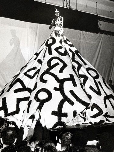 Grace Jones wearing a painted dress by Keith Haring, 1987