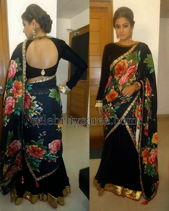 Priyamani Black Half Saree | Saree Blouse Patterns