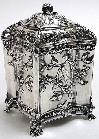 William Vincent / George III sterling silver tea caddy, rectangular (w/ serpentine sides), decorated with a repousse floral design, 1771, London, UK. www.teacampaign.ca  Source: see below.