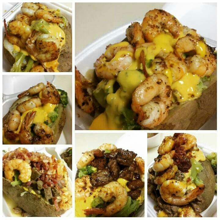 Loaded baked potato with broccoli  and cheese, shrimp, chicken, steak