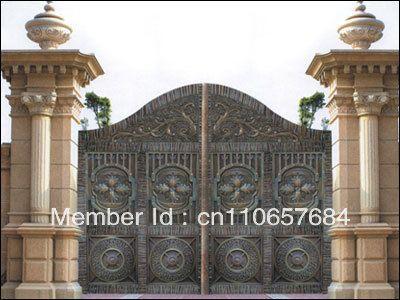 Кованого железа ворота, входные железные ворота медные двери