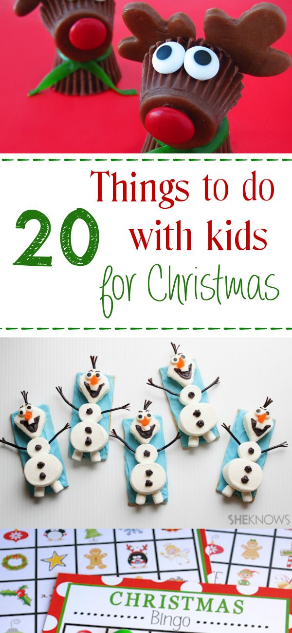 20 Fun Projects To Make With Kids This Christmas! Thinking of fun crafts and activities to make with the kids during the Holidays? Here is a great list of crafts, treats, and fun activities! Lots of ideas to keep the kids and relatives occupied during the Holiday gatherings! #funkidsactivities #funholidayactivities #holidaykidscrafts