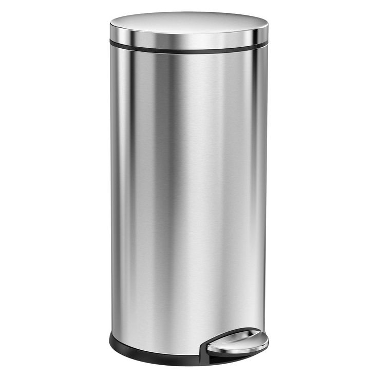 simplehuman studio 35 Liter Round Step Trash Can, Brushed Stainless Steel (Silver)