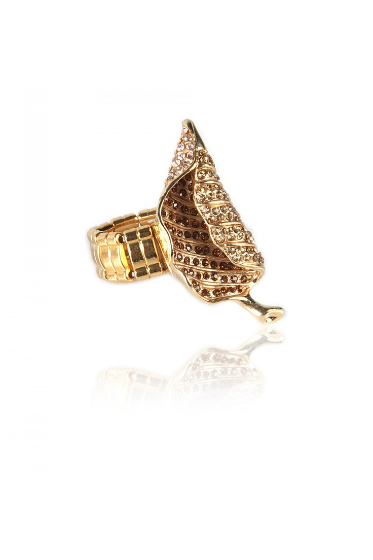 Stone Encrusted Folded Leaf -  Unique Metal Folded Leaf, Crystal Encrusted, Perfect for a Cocktail Event, Gold Finishing,   Wide Elasticated Shank......... - Rs. 599.00
