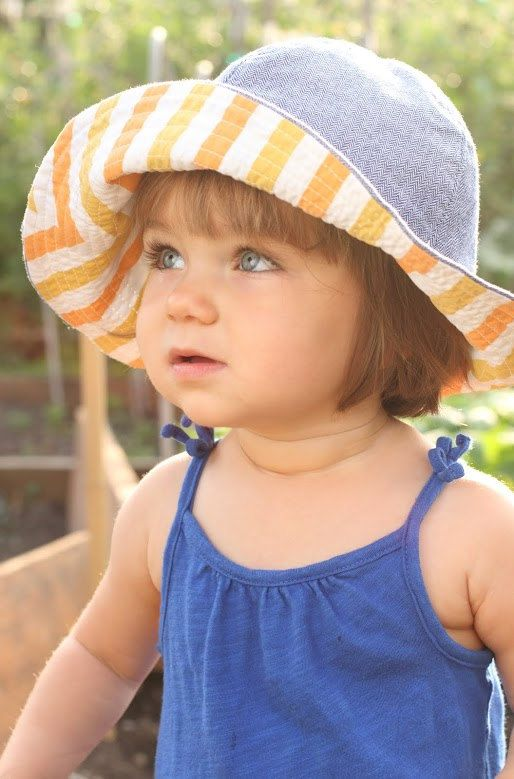 Baby Sun Hat Wide Brim Floppy Hat Denim Herringbone and Orange Stripe Liner by blue corduroy, $24.00