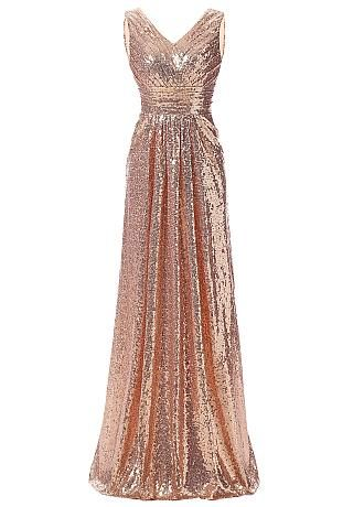 Buy discount Shining Sequin Lace V-Neck A-Line Evening Dresses at Dressilyme.com