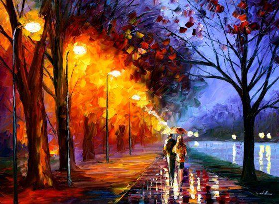 Leonid AfremovOilpainting, Artists, Oil Paintings, Walks, Colors, Canvas, Palette Knife, Leonid Afremov, Palettes Knife