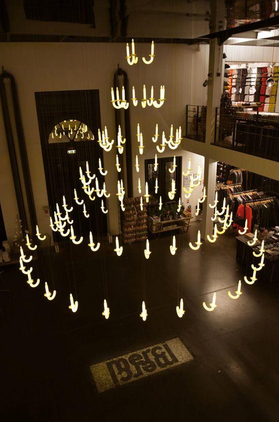 'Wersailles' Invisible chandelier by design studio Beau et Bien, Christmas installation for the concept store Merci, in Paris, France.