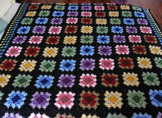 Hand Crocheted Granny Square Afghan, 51 x 61 inches, home decor, multicolored throw, granny square blanket