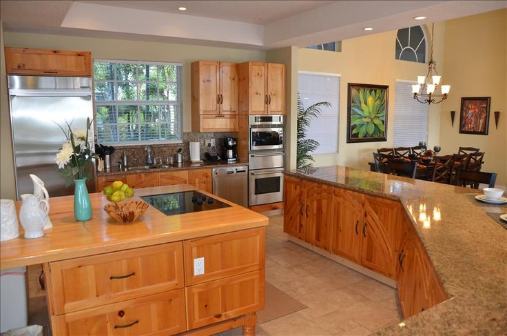 open kitchen   Exceptionally Large Open Kitchen Overlooks Dining, Living & Outdoor ...