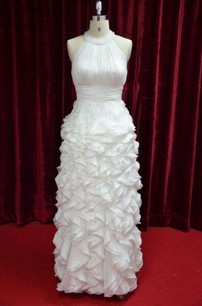 Modern Halter Neck Wedding Dress Ruffle Skirt Bridal Gown Back Zipper JY13024