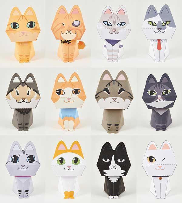 картинки фигурки кошки из бумаги правильном