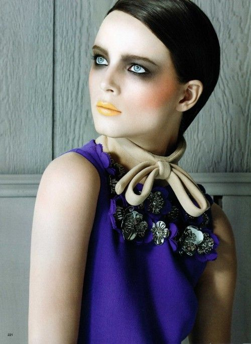 """""""Anna de Rijk in futuristic makeup look by makeup artist Francois Nars for Vogue Nippon. Dark black eyeshadow eye makeup look combined with yellow lips and orange rouge."""""""