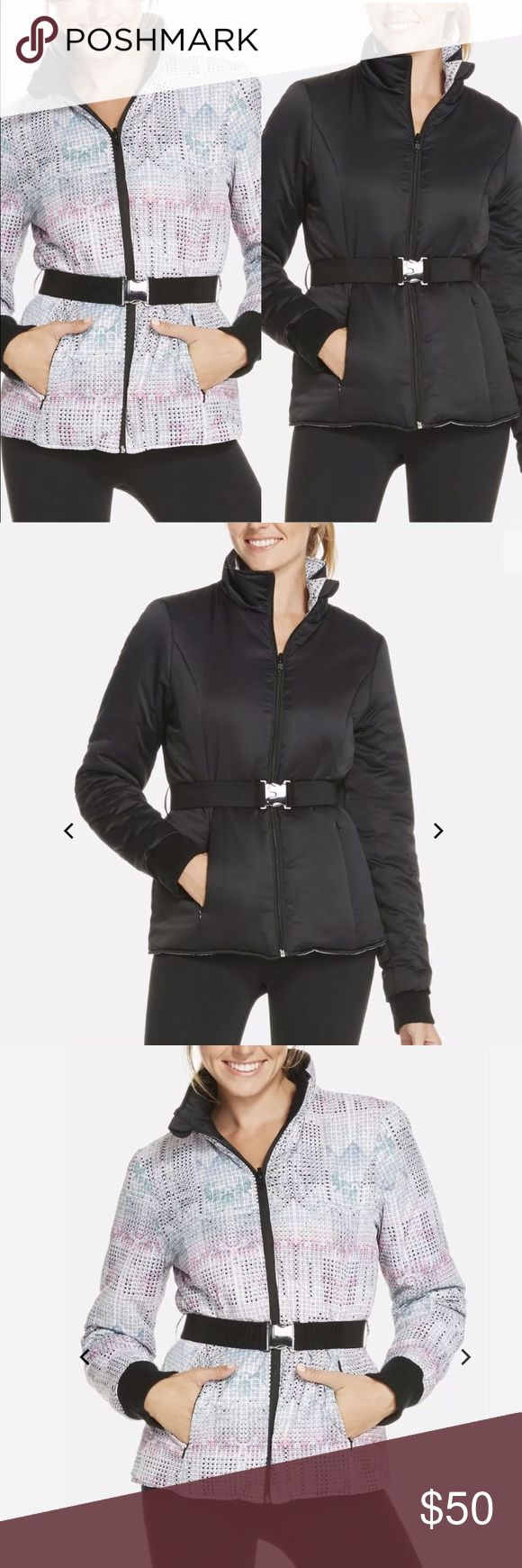 Fabletics reversible puffy puffer jacket Fabletics medusa reversible jacket•removable belt• This jacket is for the girl who loves her apres-ski. Hole up by the fireplace in a ski-inspired jacket. Go classic in all black or reverse it for a cool artic print.  Styling: Removable Belt With Metal Buckle Detail, Back Pocket On Sleeve For Key Or Card, Ribbed Cuffs, Invisible Zippers On Princess Seams, Reversible Styling, Puffy Fabric  FIT  Fit: Semi-Fitted Body. Runs True To Size.  Length: Hip…
