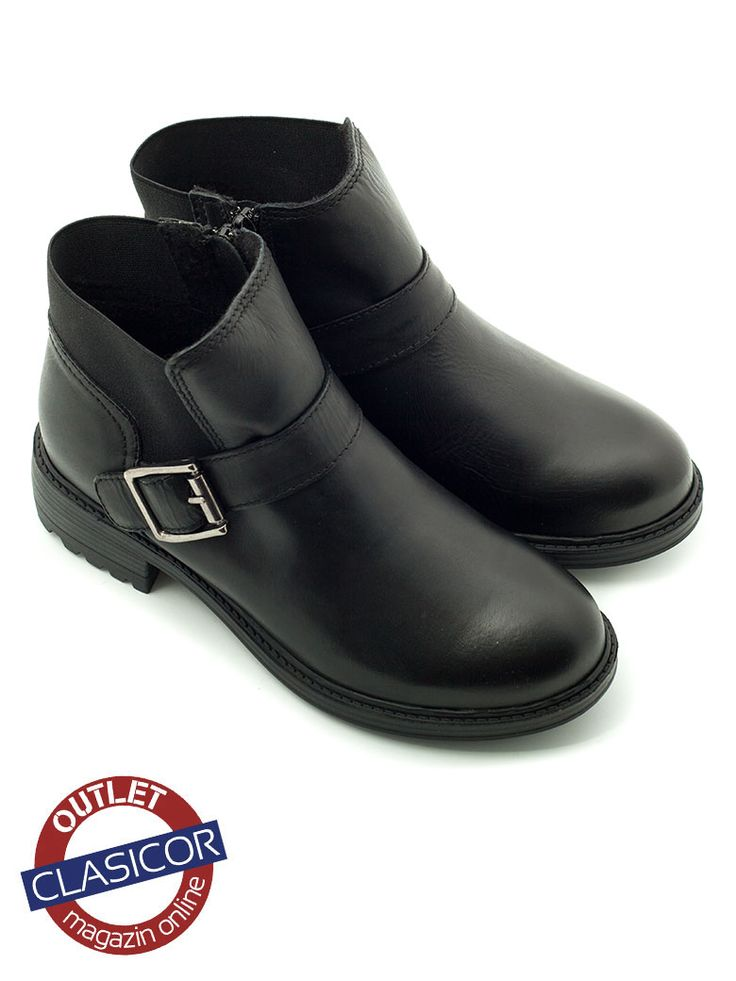 Botine din piele naturala, dama – 905-1b negru | Pantofi piele online / outlet incaltaminte piele | Clasicor