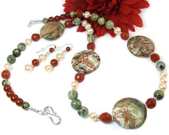 Handmade Statement Necklace, Pearl Gemstone Jasper Jewelry ...