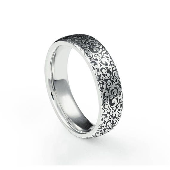 A Platinum Wedding Ring With A Laser Engraved Scroll Motif Etsy In 2020 Platinum Wedding Rings Wedding Rings Scroll Jewelry