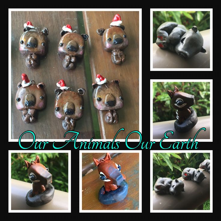Handmade and painted clay ornaments raising funds for Sleepy Burrows Wombat Sanctuary and The Australuan Wildlife Conservancy