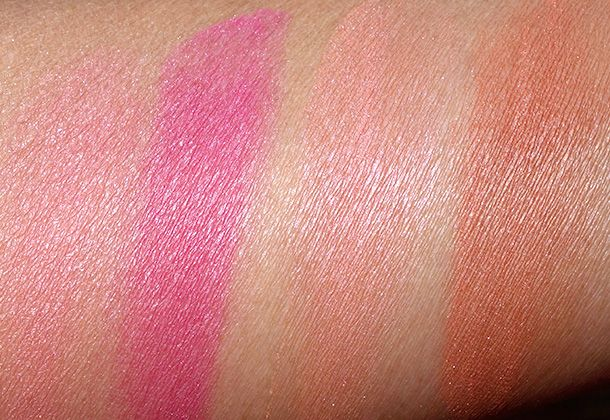 NYX Baked Blush Swatches from the left: Foreplay, Pink Fetish, Wanderlust and Ignite, Jan. 2014 (only $7 each)