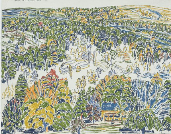 David Brown Milne Canadian, 1882–1953 Clearing on the Hill, 1920 gouache, graphite on paper 45.1 x 56.5 cm
