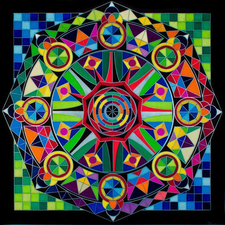 """""""JNANA DHARMACHAKRA SHANTI"""" (Sabiduría de la Rueda del Dharma que conduce a la Paz)  FUNCIÓN.  Este mandala fue diseñado para optimizar procesos meditativos.  SÍMBOLOS:  Rueda del dharma. Círculos segmentados en octágonos. Octágonos circunscritos en círculos.  INTERPRETACIÓN TERAPÉUTICA DETALLADA. Solicitar vía correo electrónico a sacredarttherapy@gmail.com"""