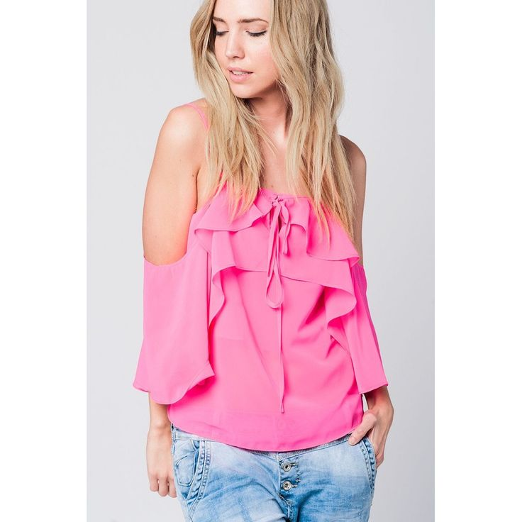 Vendor: Q2 StoreType: Women - Apparel - Shirts - BlousesPrice: 45.00  Lightweight fuchsia cold shoulder top with ruffles and spaghetti straps and wide sleeves that gives a romantic style. Color: Pink  Material: 100% Polyester  Item Fit / Dimensions: Regular fit  Made In: United States  Shipped From: United States  Lead Time: 1 - 2 Days  Fuchsia cold shoulder top