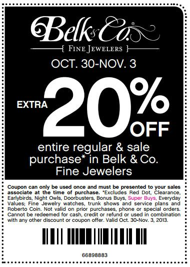 Belk coupon 20 off 100