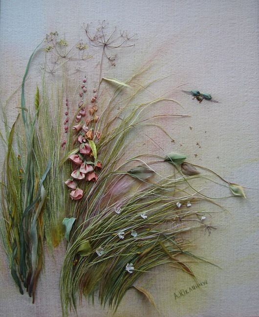 ♒ Enchanting Embroidery ♒  For grasses use long loose overlapping stitches: lazy daisy, couched straight stitch, elongated buttonhole stitch, coral stitch, colonial knots, fly stitch seedpods and bull stitches for seed or grain heads.