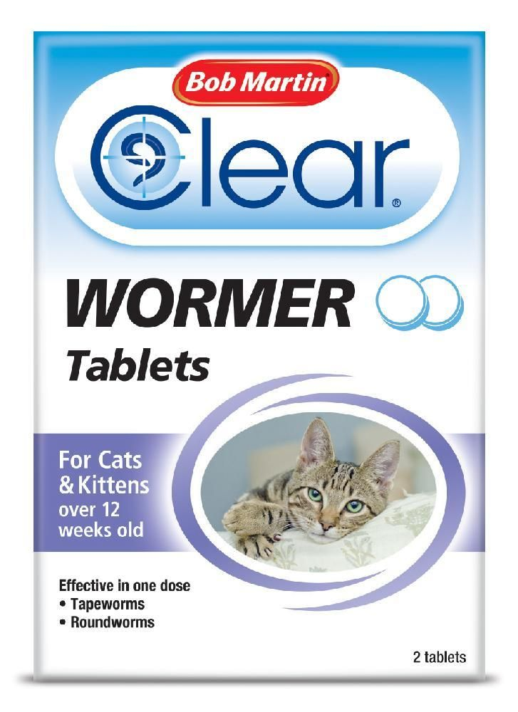 Bob Martin Clear Wormer Tablets For Cats Kittens 2 Pack Cats And Kittens Cat Health Care Wormer