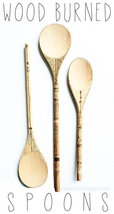 DIY Wood Burned Spoons