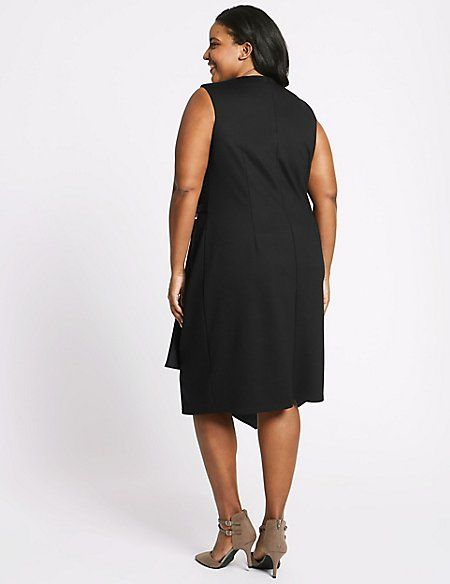 CURVE Side Buckle Wrap Midi Dress
