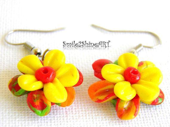 Polymmer clay flower earrings Dangle earrings by Smile2ShineArt