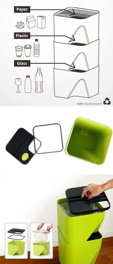 Cubos para reciclar apilables