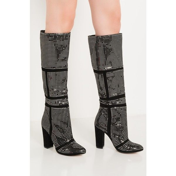 Go Disco Sparkly High Heel Boots (1.515 CZK) ❤ liked on Polyvore featuring shoes, boots, knee-high boots, sparkle boots, high heel shoes, high heeled footwear, narrow knee high boots and slim knee high boots