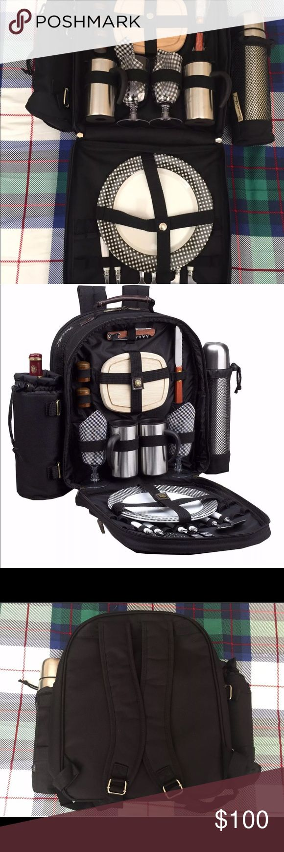 Picnic Backpack for 2, black Picnic at Ascot Classic Coffee/Picnic Backpack for 2 (082-BLACK) Condition: new.  Fully equipped picnic backpack with coffee service for two. Stainless steel vacuum flask (24 oz), double walled insulated coffee mugs with caps, melamine plates, stainless steel flatware, acrylic wine glasses, napkins, hardwood cutting board, cheese knife, wooden salt and pepper shakers and a combination corkscrew.   Color: Black w/Gingham napkins Size (H X W X D): 15.5 X 19 X 6.5…