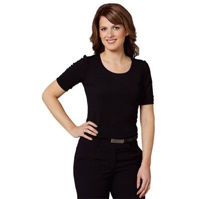 Womens Wide Neck Black Blouse Min 25 - Clothing - Business Shirts - Her Business Wear - WS-M88001 - Best Value Promotional items including Promotional Merchandise, Printed T shirts, Promotional Mugs, Promotional Clothing and Corporate Gifts from PROMOSXCHAGE - Melbourne, Sydney, Brisbane - Call 1800 PROMOS (776 667)